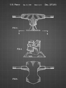 PP385-Black Grid Skateboard Trucks Patent Poster by Cole Borders