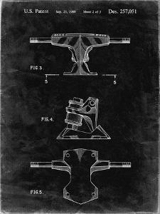 PP385-Black Grunge Skateboard Trucks Patent Poster by Cole Borders
