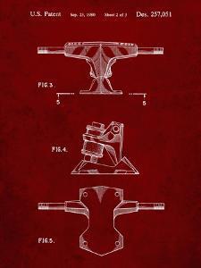 PP385-Burgundy Skateboard Trucks Patent Poster by Cole Borders