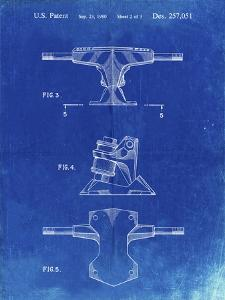 PP385-Faded Blueprint Skateboard Trucks Patent Poster by Cole Borders