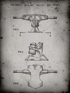 PP385-Faded Grey Skateboard Trucks Patent Poster by Cole Borders