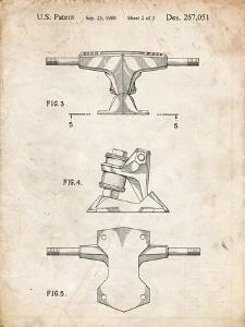 PP385-Vintage Parchment Skateboard Trucks Patent Poster by Cole Borders