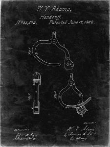 PP389-Black Grunge Vintage Police Handcuffs Patent Poster by Cole Borders