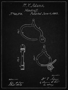 PP389-Vintage Black Vintage Police Handcuffs Patent Poster by Cole Borders