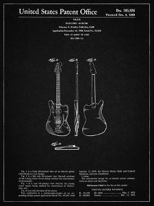 PP417-Vintage Black Fender Jazzmaster Guitar Patent Poster by Cole Borders