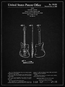 PP417-Vintage Black Fender Jazzmaster Guitar Patent Poster by Cole Borders