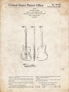PP417-Vintage Parchment Fender Jazzmaster Guitar Patent Poster by Cole Borders