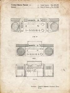PP448-Vintage Parchment Hitachi Boom Box Patent Poster by Cole Borders