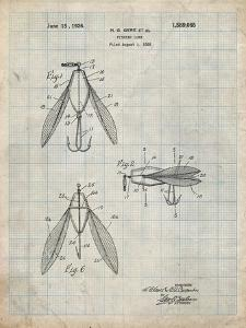 PP476-Antique Grid Parchment Surface Fishing Lure Patent Poster by Cole Borders