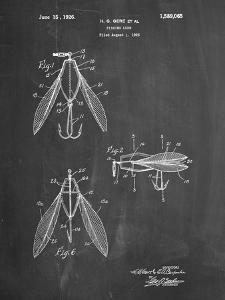 PP476-Chalkboard Surface Fishing Lure Patent Poster by Cole Borders
