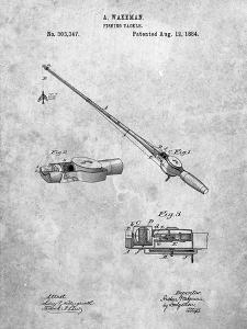 PP490-Slate Fishing Rod and Reel 1884 Patent Poster by Cole Borders