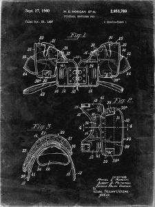 PP504-Black Grunge Vintage Football Shoulder Pads Patent Poster by Cole Borders