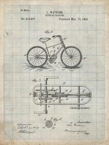 PP51-Antique Grid Parchment Bicycle Gearing 1894 Patent Poster by Cole Borders