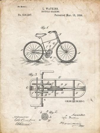 PP51-Vintage Parchment Bicycle Gearing 1894 Patent Poster