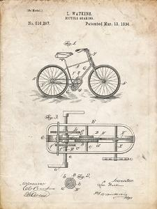 PP51-Vintage Parchment Bicycle Gearing 1894 Patent Poster by Cole Borders