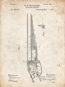 PP513-Vintage Parchment The Ostrander Shotgun Patent Poster by Cole Borders