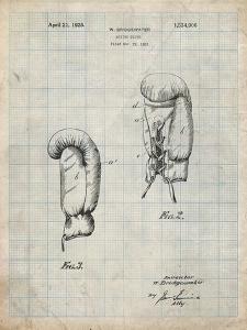 PP517-Antique Grid Parchment Boxing Glove 1925 Patent Poster by Cole Borders