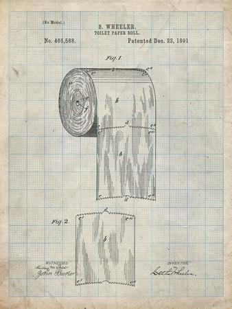 PP53-Antique Grid Parchment Toilet Paper Patent