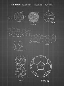 PP54-Black Grid Soccer Ball 1985 Patent Poster by Cole Borders