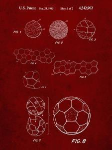 PP54-Burgundy Soccer Ball 1985 Patent Poster by Cole Borders
