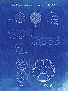 PP54-Faded Blueprint Soccer Ball 1985 Patent Poster by Cole Borders