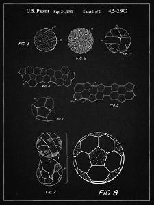 PP54-Vintage Black Soccer Ball 1985 Patent Poster by Cole Borders