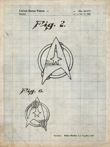 PP544-Antique Grid Parchment Star Trek Star Fleet Insignia Patent Poster by Cole Borders