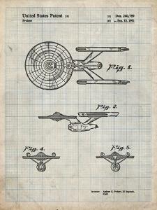 PP56-Antique Grid Parchment Starship Enterprise Patent Poster by Cole Borders