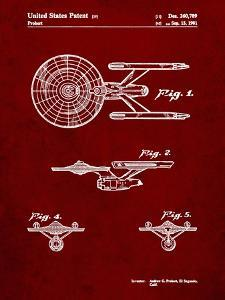 PP56-Burgundy Starship Enterprise Patent Poster by Cole Borders