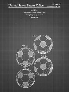 PP587-Black Grid Soccer Ball 4 Image Patent Poster by Cole Borders