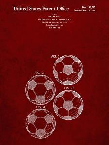 PP587-Burgundy Soccer Ball 4 Image Patent Poster by Cole Borders