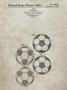 PP587-Sandstone Soccer Ball 4 Image Patent Poster by Cole Borders