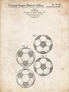PP587-Vintage Parchment Soccer Ball 4 Image Patent Poster by Cole Borders