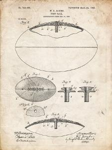 PP601-Vintage Parchment Football Game Ball 1902 Patent Poster by Cole Borders