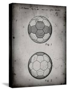 PP62-Faded Grey Leather Soccer Ball Patent Poster by Cole Borders