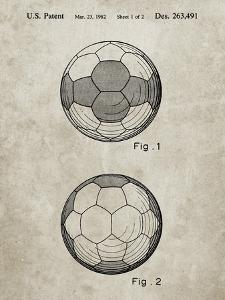 PP62-Sandstone Leather Soccer Ball Patent Poster by Cole Borders