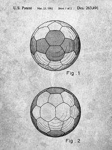 PP62-Slate Leather Soccer Ball Patent Poster by Cole Borders