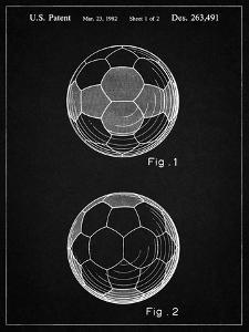 PP62-Vintage Black Leather Soccer Ball Patent Poster by Cole Borders
