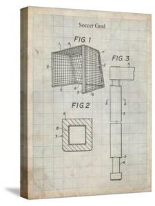 PP63-Antique Grid Parchment Soccer Goal Patent Poster by Cole Borders