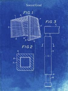 PP63-Faded Blueprint Soccer Goal Patent Poster by Cole Borders