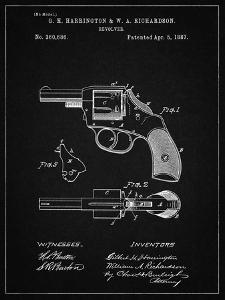 PP633-Vintage Black H & R Revolver Pistol Patent Poster by Cole Borders