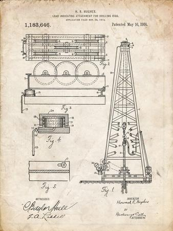 PP66-Vintage Parchment Howard Hughes Oil Drilling Rig Patent Poster