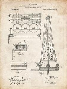 PP66-Vintage Parchment Howard Hughes Oil Drilling Rig Patent Poster by Cole Borders