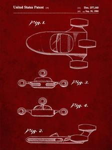 PP673-Burgundy Star Wars Landspeeder Patent Poster by Cole Borders