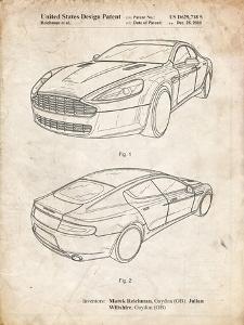 PP709-Vintage Parchment Aston Martin DBS Volante Patent Poster by Cole Borders