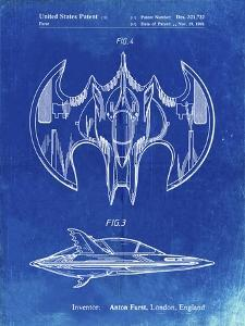 PP719-Faded Blueprint Batman Batwing Poster by Cole Borders