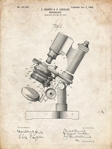 PP721-Vintage Parchment Bausch and Lomb Microscope Patent Poster by Cole Borders