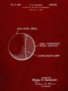 PP736-Burgundy Billiard Ball Patent Poster by Cole Borders