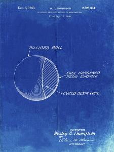 PP736-Faded Blueprint Billiard Ball Patent Poster by Cole Borders