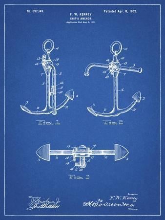 PP745-Blueprint Boat Anchor Patent Poster